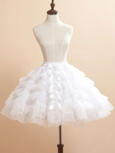 Lolitashow White Bows Organza Lolita Skirt for Women