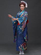 Anime Costumes AF-S2-571805 Blue Floral Print Matte Satin Kimono for Women