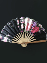 Anime Costumes AF-S2-571795 Japanese Black Floral Print Bamboo Fan