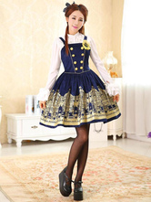 Deep Blue Print Synthetic Lolita Corset for Women
