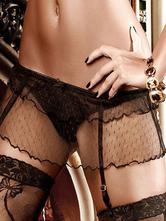 Black Semi-Sheer Lace Polyester Garter Belts for Women