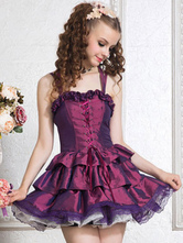 Deep Purple Ruffled Polyester Lolita Corset for Women