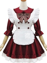 Anime Costumes AF-S2-572915 Halloween Two-Toned Bows Polyester French Maidservant Costume For Women