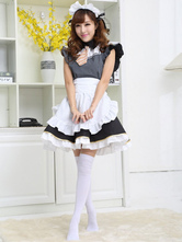 Anime Costumes AF-S2-572925 Halloween Black&White Bow Tie Ruffled Polyester French Maid Costume For Women