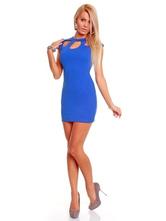 Blauer Ausschnitt Milch Seide Sexy Club Kleid für Frauen