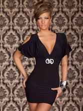 Black Cold-Shoulder lait Club Sexy soie robe pour femmes