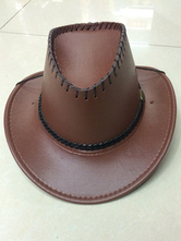 Anime Costumes AF-S2-573007 Halloween Brown Cowboy Faux Leather Cosplay Hat for Men&Women