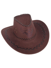 Anime Costumes AF-S2-573021 Halloween Brown Print Cowboy Faux Suede Cosplay Hat for Men&Women