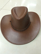Anime Costumes AF-S2-573015 Halloween Brown Cowboy Faux Leather Cosplay Hat for Men&Women