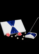 Blue Beaded Bows Wedding Books and Pens