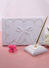 Ivory Beaded Bows Wedding Books and Pens