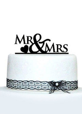 Romantic Black Letters and Heart Shape Embossed Wedding Cake Topper