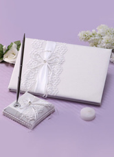 Ivory Lace Bows Wedding Books and Pens