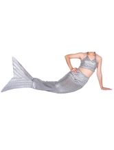 Anime Costumes AF-S2-573319 Halloween Silver Shiny Metallic Tail Mermaid Animal Zentai