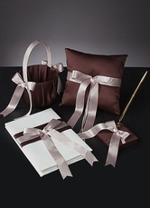 Brown Bows Ribbons Wedding Flowers Collection Set