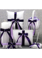 Purple Bows Ribbons Wedding Flowers Collection Set