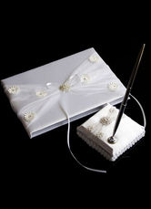 Ivory 3D Flowers Bows Ribbons Wedding Books and Pens