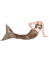 Anime Costumes AF-S2-573317 Halloween Leopard Print Shiny Metallic Tail Mermaid Animal Zentai