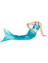 Anime Costumes AF-S2-573321 Halloween Blue Shiny Metallic Tail Mermaid Animal Zentai