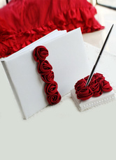 Red 3D Flowers Wedding Books and Pens