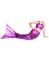 Anime Costumes AF-S2-573305 Halloween Fuchsia Shiny Metallic Tail Mermaid Animal Zentai