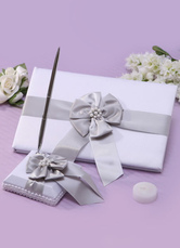 Gray Beaded Bows Wedding Books and Pens