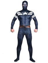 AF-S2-573943 Halloween Multicolor Captain America Costume Cosplay Lycra Spandex Zentai Suit