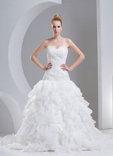 Ivory Wedding Dress Strapless Tiered Lace Organza Wedding Gown