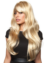 Anime Costumes AF-S2-574351 Long Blonde Wigs Women's Wave Wig With Bangs In Heat-resistant Fiber