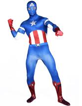 Anime Costumes AF-S2-573941 Halloween Multicolor Captain America Lycra Spandex Zentai