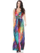 Stampa multicolor Sexy V profonda Maxi Dress per le donne