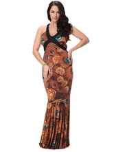 Plus Size Dress Print Backless Lace Up Maxi Dress For Women