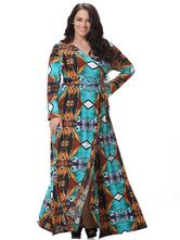 Plus Size Dress Print Trendy Milk Silk Maxi Dress For Women