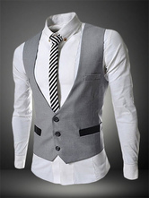 Men Suit Vest 2019 Single Breasted Button Two Tone Shaping Light Grey Cotton Waistcoat