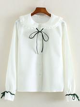 Lolitashow Weißer Bogen geraffte Baumwolle Lolita-Shirt für Damen