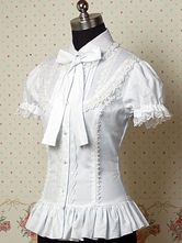 Lolitashow White Ruffles Bows Cotton Lolita Blouse for Women