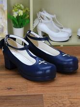 Azul profundo Cruz impresión PU Lolita zapatos para mujeres Y1Wpw8qZ5