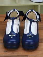 Azul profundo Cruz impresión PU Lolita zapatos para mujeres 8FvbO3