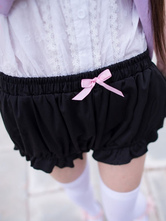 Lolitashow Black Lolita Bloomers Bows Cotton Lolita Shorts For Women