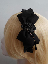 Lolitashow Black Lace Flower Bow Synthetic Lolita Hair Accessories