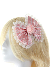 Lolitashow Pink Chic Lace Flower Bows Synthetic Lolita Hair Accessories