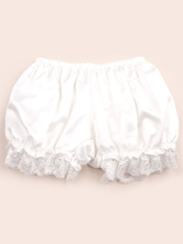 Lolitashow White Black Light Orange Lolita Bloomers Silk-like Lace Trim