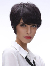 Anime Costumes AF-S2-574471 Black Human Hair Wigs For Women In Boycuts