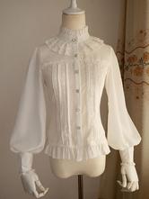 Lolitashow White Chiffon Lolita Blouse Long Gigot Sleeves Ruffles Stand Collar