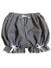 Lolitashow Sweet Lolita Bloomers Two-Toned Plaids Bows Cotton Lolita Shorts For Women
