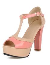 Deux tons tendance plate-forme Peep Toe brevets PU sandales pour femmes