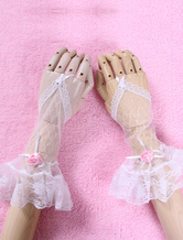 Lolitashow White Chic Bows Lace Synthetic Lolita Long Gloves