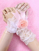 Lolitashow White Bows Flowers Lace Synthetic Lolita Gloves