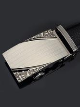 Milanoo / Black Metallic Embossed Leather Chic Belt for Men