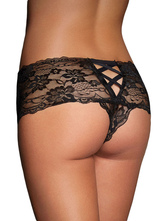 Black Lace Cut-Out Polyester T-Back Panties for Women